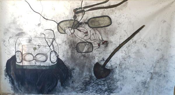 מריה סאלח מחאמיד, מות הבן, פחם על בד, 2021, (1)